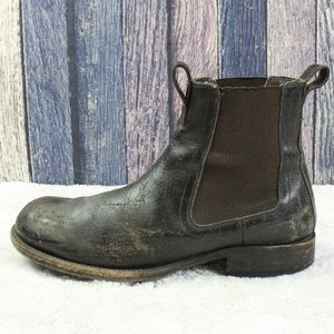 Frye Distress Chelsea Brown Leather Boots Size 10
